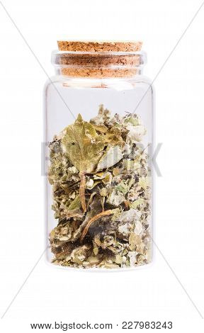 Dried Foliage Of Coltsfoot Tussilago Farfara In A Bottle With Cork Stopper For Medical Use.