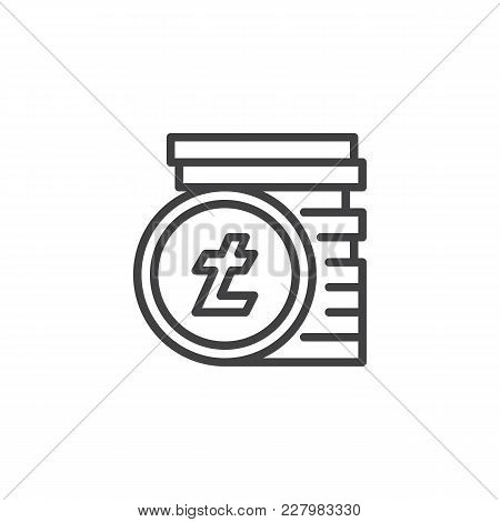 Litecoin Stack Outline Icon. Linear Style Sign For Mobile Concept And Web Design. Stacked Cryptocurr