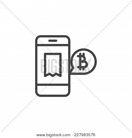 Accept Bitcoin Payment Outline Icon. Linear Style Sign For Mobile Concept And Web Design. Bitcoin Mo
