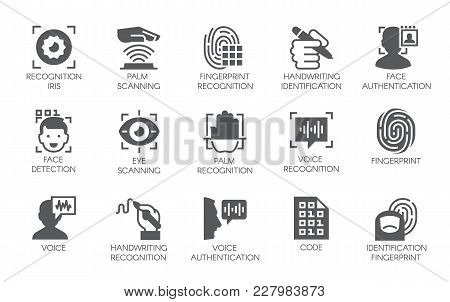 Set Of 15 Flat Icons - Biometric Authorization, Identification And Verification Symbols. Fingerprint