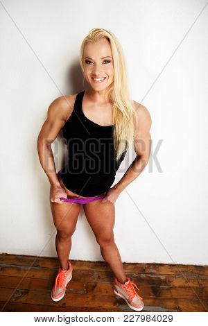 Funny Portrait Of Blond Sexy Fitness Woman