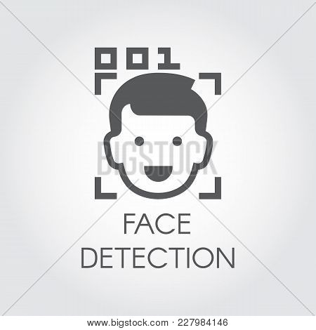 Face Detection Flat Icon. Facial Biometric Recognition. Men Head, Frame Scanning And Code Control. T