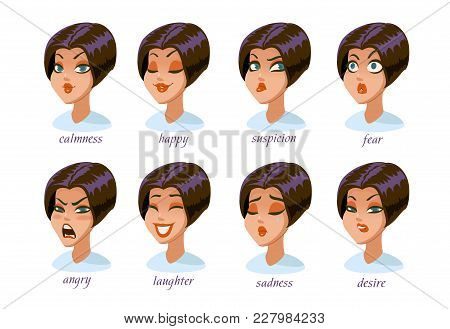 Brunette Woman Character Expressions Set. Calmness, Happy, Suspicion, Fear, Angry, Laughter, Sadness