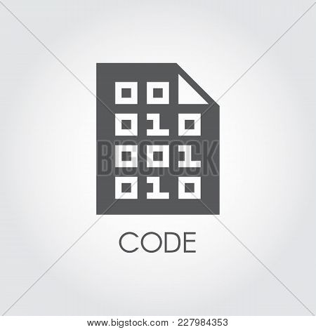 Code Black Flat Icon. Programming Panel Software. Technology Authorization Logo. Abstract Pin Sign F