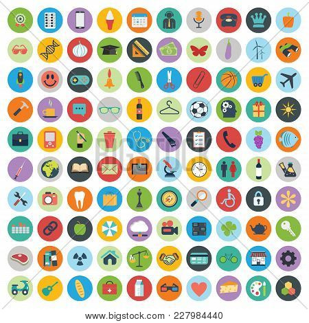 Flat Icons Design Modern Vector Illustration. Big Set Of Web And Technology Development Icons, Busin
