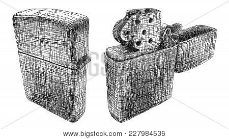 Vector Graphic Arts Sketch Of Drawing Open And Closed Petrol Lighter (black Pen).
