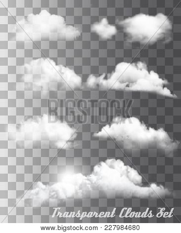 Set Of Transparent Different White Clouds. Vector.