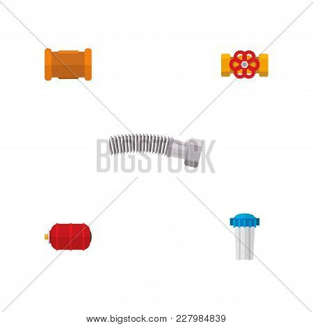 Icon Flat Pipeline Set Of Water Tank, Flange, Cast Iron And Other Vector Objects. Also Includes Wate