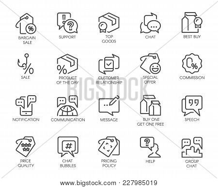 Set Of 20 Line Icons For Online Or Offline Stores, Shopping, Booking Sites And Mobile Apps, Comments