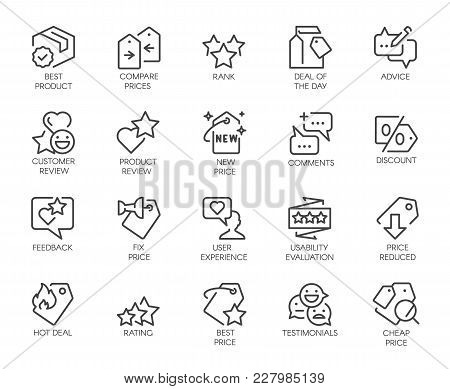 20 Linear Icons For Online Or Offline Stores, Mobile Apps And Messengers. Promotion, Marketing And A