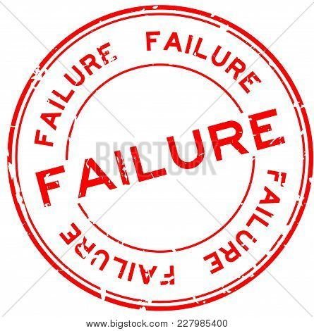 Grunge Red Failure Word Round Rubber Seal Stamp On White Background