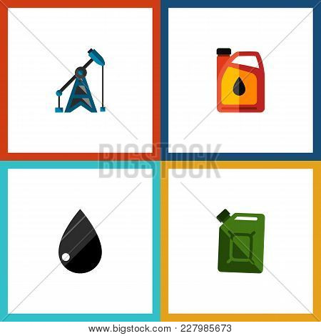 Icon Flat Fuel Set Of Fuel Canister, Liquid Drop, Oil Pump And Other Vector Objects. Also Includes O