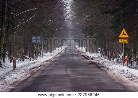 Road Close To Polish-belarus Border In Grudki, Small Village Near Bialowieza, Poland
