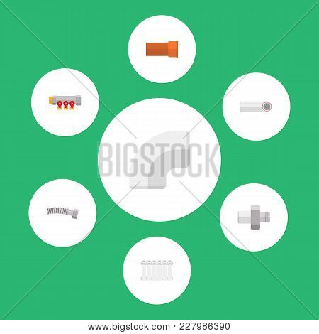 Icon Flat Industry Set Of Iron, Controller, Coiled Wire And Other Vector Objects. Also Includes Pipe