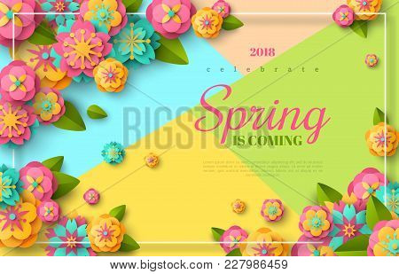Spring Sale Flyer Template With Paper Cut Flowers And Leaves With Frame. Bright Colorful Geometric B