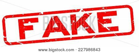 Grunge Red Fake Word Square Rubber Seal Stamp On White Background