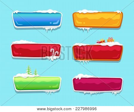 Blank Glossy Web Push Buttons Set Covered With Snow, Decorated By Candy Sticks Vector Online Shoppin