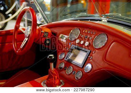 Vivid Red Skin Interior Of Old Retro Car