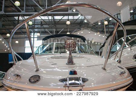 Close Up Of Boat In Hangar In Repair Factory.