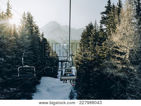 Sun Through Pine Trees As Chairlift Ascent At Italian Ski Area Covered In Snow