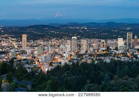 Night City Skyline Of The City Of Portland, Oregon