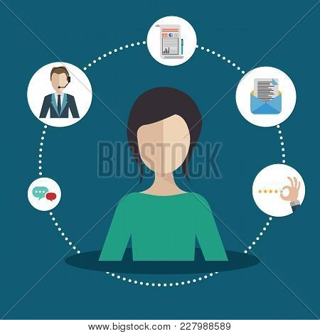 Woman Presenting Customer Relationship Management. System For Managing Interactions With Current And