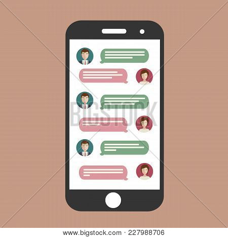 Cell Phone Chat. Mobile Chat On Line. Flat Vector Icon.