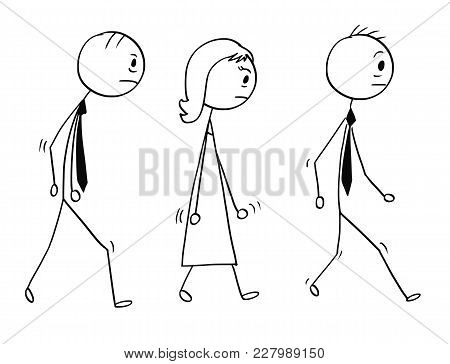 Cartoon Stick Man Drawing Conceptual Illustration Of Team Of Three Sad Or Tired Business People, Bus