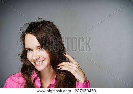 Happy Smiling Young Woman Office Worker In Pink Shirt Smiling
