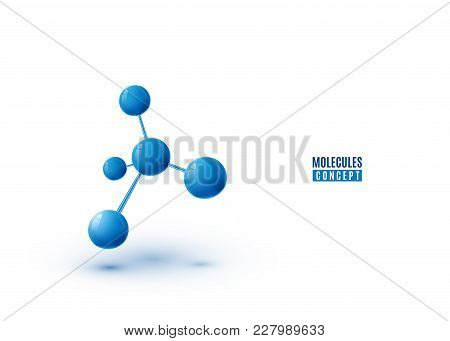 Molecule Design Isolated On White Background. Atoms. 3d Molecular Structure With Blue Connected Sphe