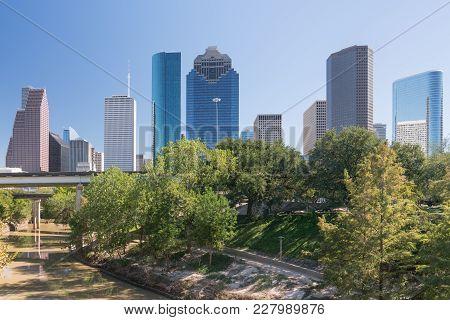 Houston, Texas City Skyline Along The Buffalo Bayou