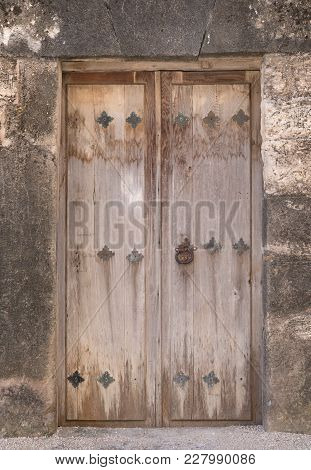 Old Wooden Doorway At Mission San Juan In Texas