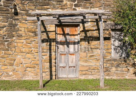 Old Wooden Doorway At Mission San Jose In Texas