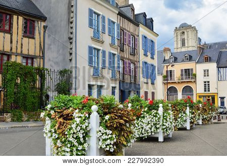 Medieval Town Le Mans In France With Half-timbered Houses