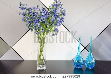 Lavender Bouquets In Vase On Wood Background With Copy Space
