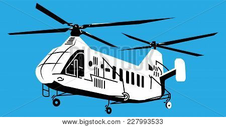 Vector Illustration Of Helicopter In Monochrome, Vector Helicopter
