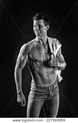 Gladiator Or Atlant. Guy With Bare Chest In Jeans And Shirt. Athletic Bodybuilder Pose. Sport And Wo