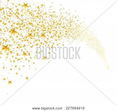 Falling Golden Stars, Dust. Shooting Star With Rounded Trail Isolated On White Background. Meteor, C