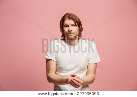 Let Me Think. Doubt Concept. Doubtful Pensive Man With Thoughtful Expression Making Choice. Young Em