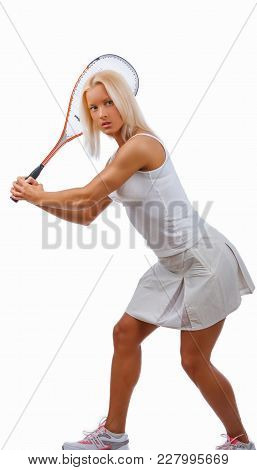 Positive Blond Female Tennis Player In A White Dress.