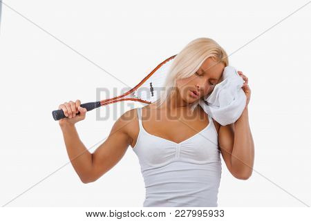 Awesome Blond Female Tennis Player Isolated On A White Background.