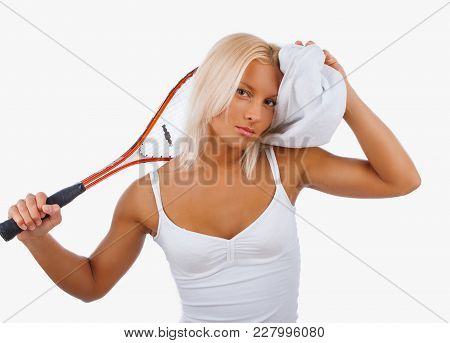 Tired Blond Women With Tennis Racket. Isolated On A White Background.