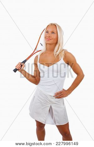 A Woman Tennis Player Isolated On A White Background.