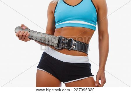 Athletic Blond Female Isolated On A White Background.