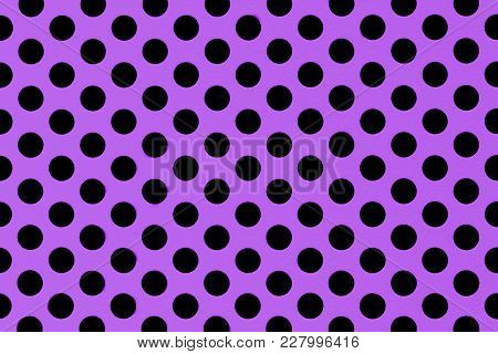 Black Dots On Purple Surface. Seamless Background Pattern, Modern Pantone Fashion Texture. Abstract
