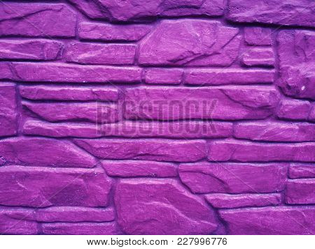 Ultra Violet Bricks Horizontal Pattern Background Stone Wall Texture, Closeup, Pantone 2018 Color