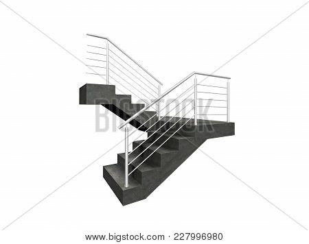 Chrome Fence, Stainless Steel Fence, Inox Fence, Aluminium Fence On Staircase 3d Illustration On Iso