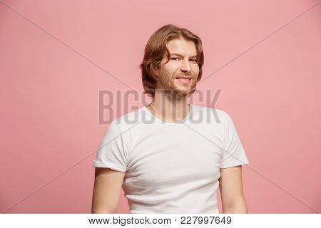 Happy Business Man Standing And Smiling Isolated On Pink Studio Background. Beautiful Male Half-leng