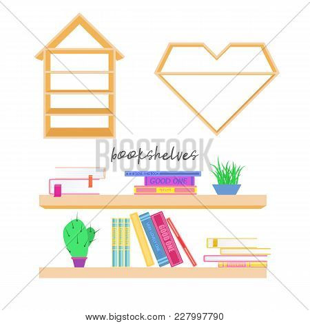 A Set Of Bookshelves And Cabinets Elements