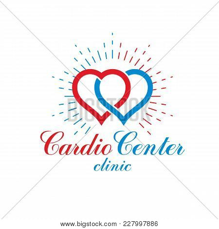 Vector Illustration Of Heart Shape. Cardiovascular System Diseases Prevention Conceptual Logo For Us